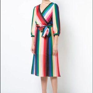 🌈Alice + Olivia Rainbow Stripe Wrap Dress